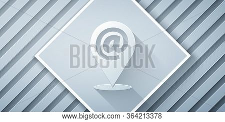 Paper Cut Location And Mail And E-mail Icon Isolated On Grey Background. Envelope Symbol E-mail. Ema