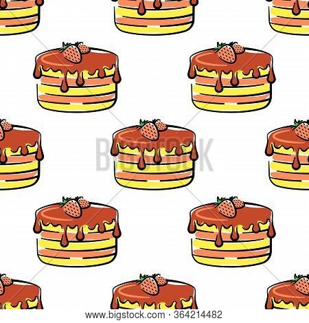 Chocolate Cake With Strawberries Vector Seamless Pattern On White Background. Color Holiday Backgrou
