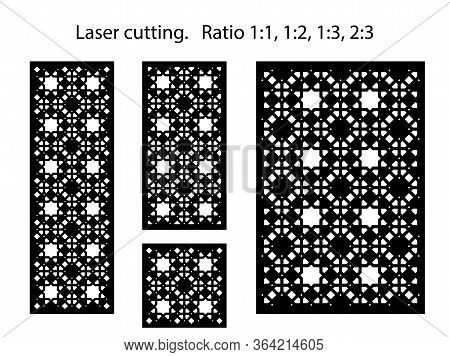 Set Of Decorative Vector Panels, Screens For Laser Cutting. Template For Interior Partition In Arabe