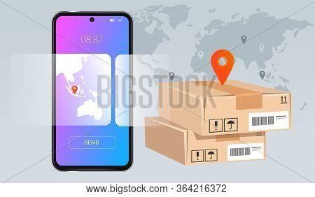 Smartphone Mobile Delivery Package Concept Of Modern Technology In Suppy Chain World Wide Inventory