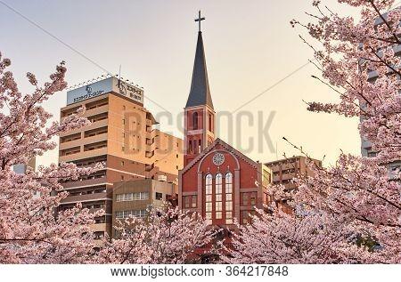 Kobe Seiai Church, Protestant Church In Kobe, Japan, With Sakura Cherry Blossoms