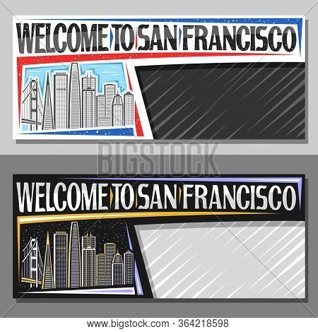 Vector Layouts For San Francisco With Copy Space, Voucher With Line Illustration Of San Francisco Ci
