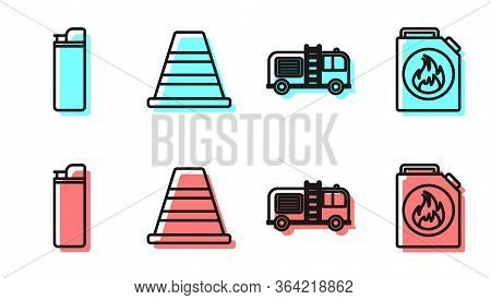 Set Line Fire Truck, Lighter, Traffic Cone And Canister For Flammable Liquids Icon. Vector