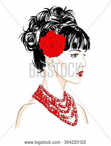 Young  Women Brunette With Red Necklace And Flower In Profile, Hand Drawn Scetch Fashion Vector Illu