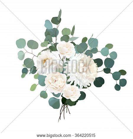 Ivory Beige Rose, White Peony, Ranunculus, Chrysanthemum Flower Vector Design Wedding Bouquet.eucaly