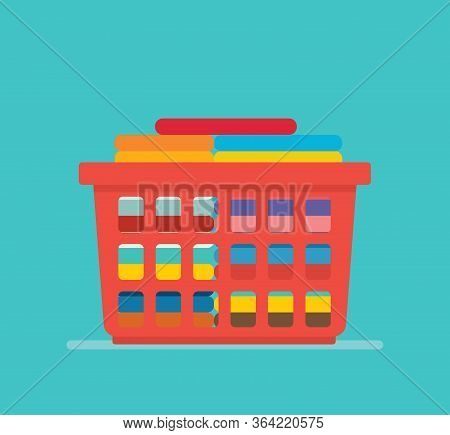 Laundry Basket Concept With Tidy Clothes Stack Clean With Modern Flat Style Vector