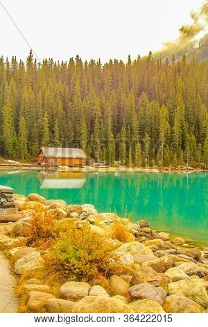 Stunning Green Waters Of Lake Louise. Banff National Park, Alberta, Canada
