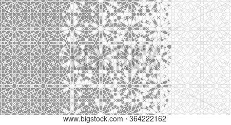 Mosaic Seamless Vector Border, Pattern, Background, Wallpaper. Geometric Mosaic Halftone Border With