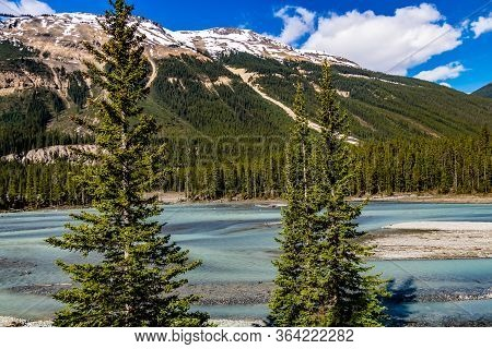 The Bow River Wanders Through The Back Country Icefields Parkway. Banff National Park, Alberta, Cana
