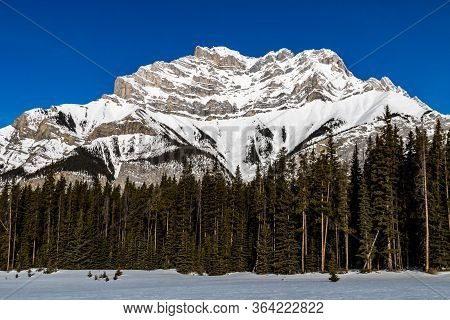 Views Of The Cascade Mountain In Late Winter. Banff National Park, Alberta, Canada