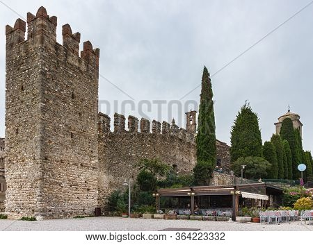 Sirmione, Italy, October 01, 2015 : External Protective Wall And Watchtower Of The Castello Scaliger