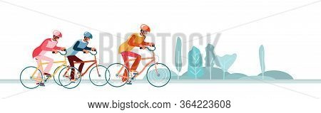 Cyclists Chase The Leader Of Race. Head Of Peloton Vector Illustration. Cycling In Nature Or City.th