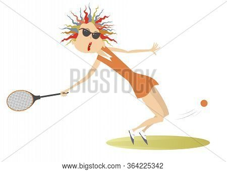 Young Woman Playing Tennis Isolated Illustration. Pretty Young Woman In Sunglasses With A Tennis Rac