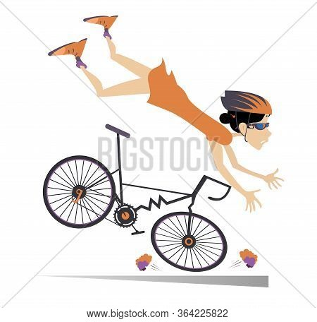 Cyclist Woman Falling Down From The Bicycle Isolated Illustration. Cyclist Woman Falling Down From T