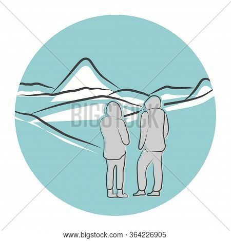 Mountains Icon. Ski Resort. Handrawn Panoramic Mountain Landscape With People. Ski Resort Banner. Lo