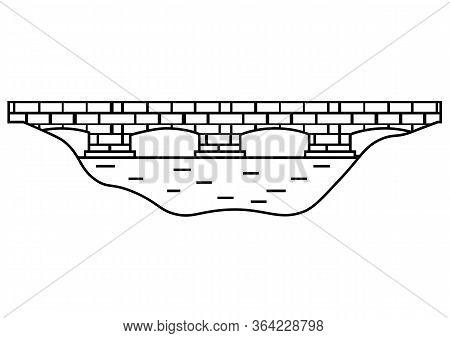 Bridge Icon. Black Minimalist Stone Bridge Logo Design In Outline Style. Flat Style Trend Modern Bra