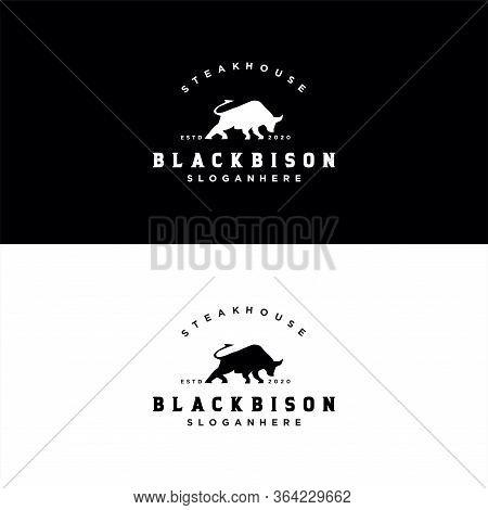 Bison Bull Buffalo Angus Silhouette Steak House Vintage Retro Logo Design Illustration