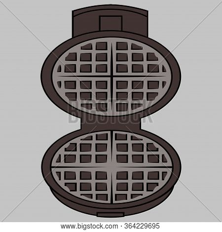 Wafer Iron. Wafer -iron Icon. Open Waffle Iron On A Grey Background With Clipping Path. Vector