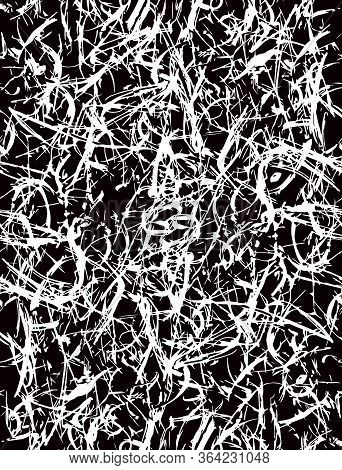 Abstract Seamless Vector Patterns With Freehand Brush Stains. White Spatter On A Black Background. G