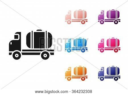 Black Tanker Truck Icon Isolated On White Background. Petroleum Tanker, Petrol Truck, Cistern, Oil T