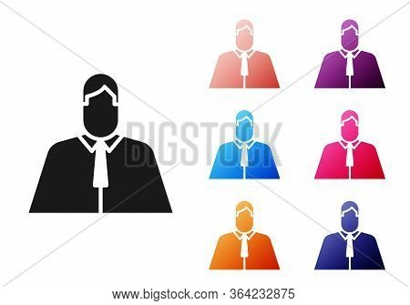 Black Lawyer, Attorney, Jurist Icon Isolated On White Background. Jurisprudence, Law Or Court Icon.