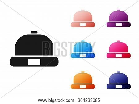 Black Beanie Hat Icon Isolated On White Background. Set Icons Colorful. Vector Illustration