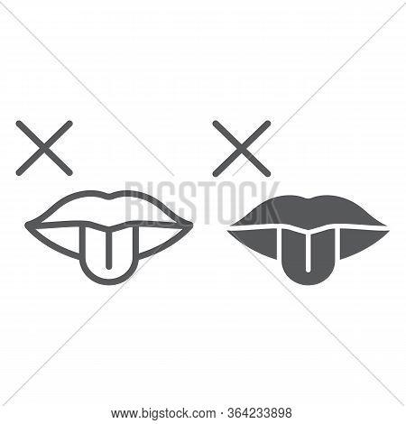 No Taste Symptom Line And Glyph Icon, Infection And Covid-19, Coronavirus Symptom Sign, Vector Graph