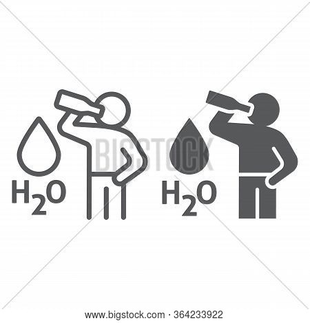 Stay Hydrated Line And Glyph Icon, Healthy And H2o, Drink Water Sign, Vector Graphics, A Linear Icon