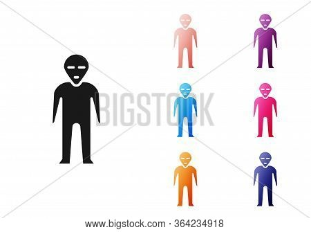 Black Alien Icon Isolated On White Background. Extraterrestrial Alien Face Or Head Symbol. Set Icons