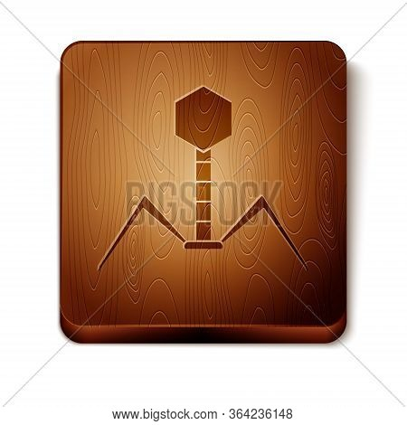 Brown Bacteria Bacteriophage Icon Isolated On White Background. Bacterial Infection Sign. Microscopi