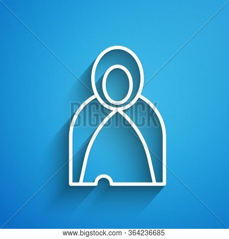 White Line Mantle, Cloak, Cape Icon Isolated On Blue Background. Magic Cloak Of Mage, Wizard And Wit