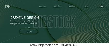 Camouflage Landing Page Design. Abstract Flow Shape Texture. Curve Technology Movement. Green Gradie