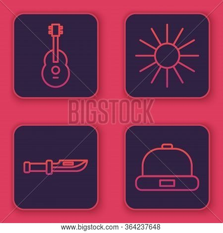 Set Line Guitar, Camping Knife, Sun And Beanie Hat. Blue Square Button. Vector