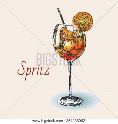 Spritz Hand Drawn Summer Cocktail Drink Vector Illustration