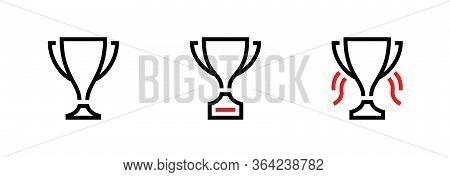 Set Trophy Cup Award Icons. Editable Vector Stroke.