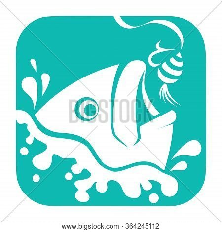 Fishing Logo, Fish And Hook Logo Template, Flat Logo Style