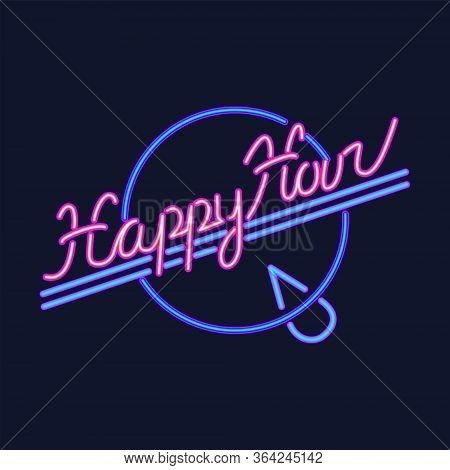 Happy Hour Neon Sign Vector Design Template, Banner Design Element Colorful Modern Design Trend, Nig