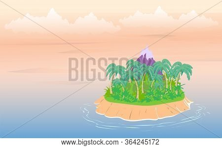 Tropical Landscape, Sea Island With Palm Trees And Sky With Clouds.
