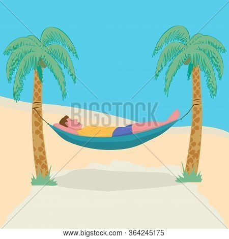 Man Lying In A Hammock Attached To Palm Trees. Lazy Vacation, Downshifting, Freelance. Freedom In Tr