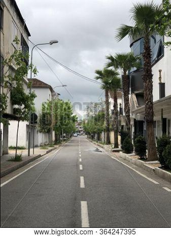 Tirana, Albania, May 2020 :empty Street In Tirana, Closed Of Covid19