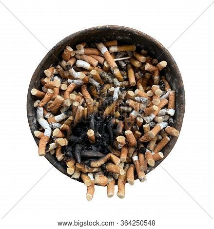 Old Rusty Ashtray With Cigarette Butts On A White Isolated Background