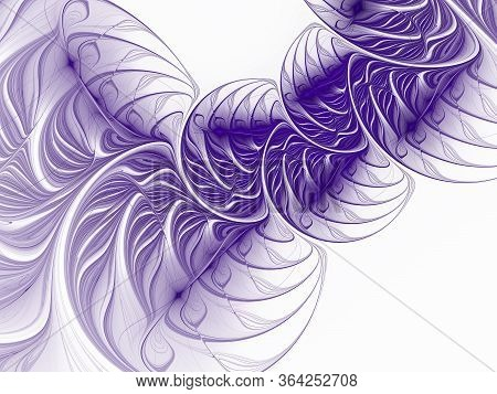 Light Fractal Illustration - Curl With Intricate Texture On A White Background. Abstract Computer-ge
