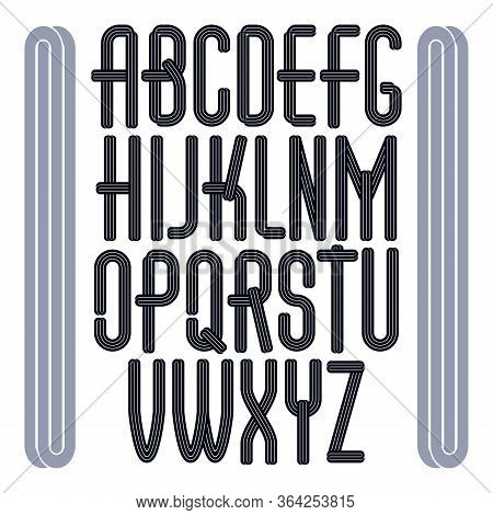 Vector Funky Tall Capital Alphabet Letters Collection With Parallel Stripes, Can Be Used In Poster C