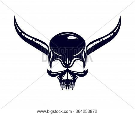 Devil Sign Horned Skull Vector Illustration Classic Style Tattoo, Dead Scull With Animal Horns.