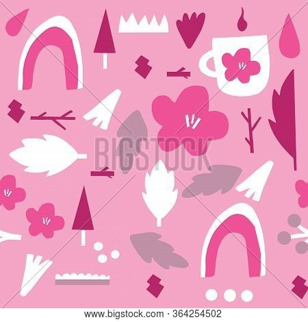 Big Bold Shapes Pattern With Flowers. Scandanvian Style Pattern. Simple Bold Shapes. Pink. Monochrom