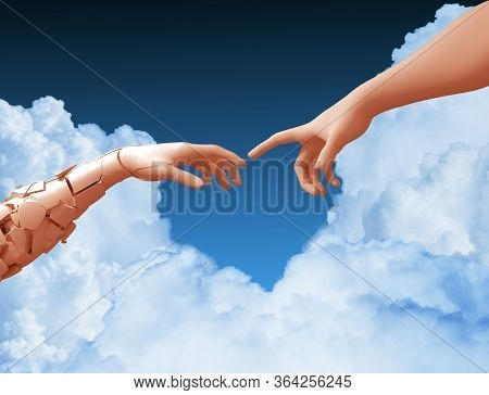Two Hands And Clouds In The Blue Sky Create A Heart Shape. 3d Illustration.
