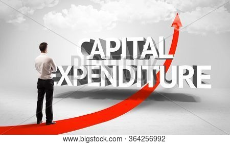 Rear view of a businessman standing in front of CAPITAL EXPENDITURE inscription, successful business concept