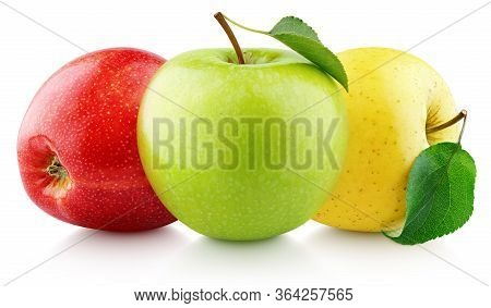 Colorful Apples With Leaves Isolated On White Background. Red, Green, Yellow Apples With Clipping Pa