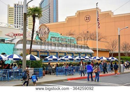 Osaka, Jp - April 7 - Mels Hollywood Streamliner Facade At Universal Studios Japan On April 7, 2017