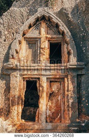 Ancient Lycian Rock Tombs in Kas town, Turkey
